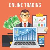 Online trading flat illustration concept — Stock Vector