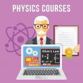 Physics courses flat illustration concept — Stock Vector