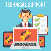Technical support flat illustration concept — Stock Vector