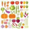 Vegetables flat icons set — Stock Vector #79628078