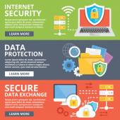 Internet security, data protection, secure data exchange, cryptography flat illustration concepts set — Stock Vector