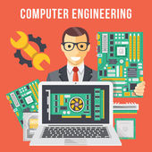 Computer engineering flat illustration concept — Stock Vector