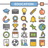 Education flat line icons set — Stock Vector