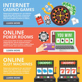 Internet casino games, online poker rooms, slot machines flat illustration concepts set — Stock Vector