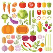 Vegetables flat icons set — Stock Vector
