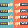 Hands with thumbs up and thumbs down. Pros and cons concept — Stock Vector #82857134
