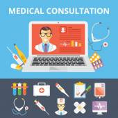 Medical consultation flat illustration and flat medical icons set — Stock Vector