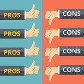 Hands with thumbs up and thumbs down. Pros and cons concept — Stock Vector