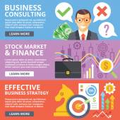 Business consulting, stock market, finance, business strategy flat illustration — Stock Vector