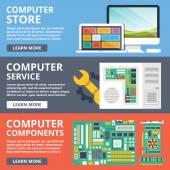 Computer store, computer service, computer components, parts flat illustration — Stock Vector
