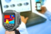 Recording With Thermal Camera heat in the office — Foto de Stock