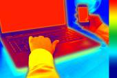 Infrared thermovision image showing heat in the office — Foto de Stock