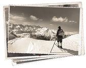 Vintage photos with skier — Stock Photo