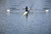Rower in a boat — Stock Photo
