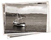 Vintage photo Old wooden sail ship — Stock Photo
