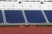 Roof with solar panel — Stock Photo