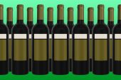Wine Bottles with green background — Stock Photo