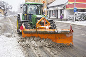 Clearing roads of snow — Stock Photo