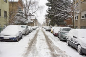 Parked Cars covered with snow — Stock Photo
