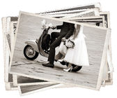Vintage photos with newlywed — Stock Photo
