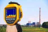 Record at the Chimney of energy station with thermal cameras — Stock Photo