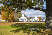 Autumn in New England. Guildhall, Vermont. Guildhall church and Essex County Courthouse — Stock Photo