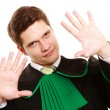 Law. Man lawyer in polish gown showing stop hand sign — Foto de Stock   #51828649