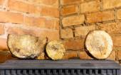 Winter at home. Firewood on the metal stove fireplace. Heating. — Stock Photo