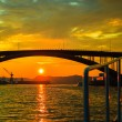Sunset over suspension bridge in Bergen, Norway — Stock Photo #51876353
