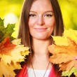 Fall season. Portrait girl woman holding autumnal leaves in park — Stock Photo #52078857