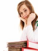 Paperwork. Overworked doctor woman with documents — Foto de Stock