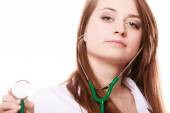 Medical. Woman doctor in lab coat with stethoscope — Stock Photo