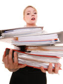 Business woman holding stack of folders documents — Stock Photo