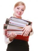 Paperwork. Businesswoman carrying stack of documents — Стоковое фото