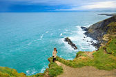 Woman standing on rock cliff by the ocean Co. Cork Ireland — Stock Photo