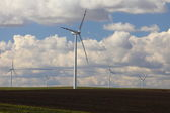 Wind turbines eco renewable energy production — Stock Photo