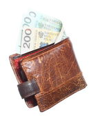 Economy and finance. Wallet with polish banknote isolated — Stock Photo