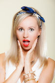 Surprised woman face, girl retro style open mouth facial expression — Stock Photo