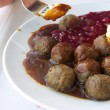 Food being eaten. Dinner meatballs with potatoes. — Stock Photo #52369223