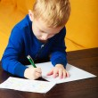 Blond boy child kid with pen writing on piece of paper. At home. — Stock Photo #52369301