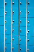Closeup blue deposite boxes with keys. left luggage — Stock Photo