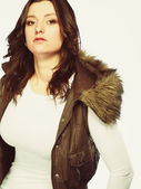 Woman in casual waistcoat. Winter fashion. — Stock Photo