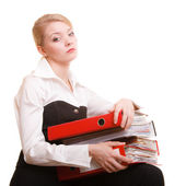 Business woman holding stack of folders documents — Foto de Stock