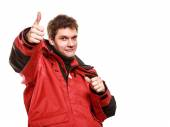 Young man sailor in red wind jacket. Sailing. — Stock Photo