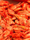 Shrimps fish market (Fisketorget) in Bergen, Norway — Stock Photo