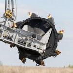 Opencast brown coal mine. Bucket wheel excavator. — Stock Photo