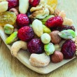 Varieties of dried fruits and nuts on wooden spoon. — Stock Photo #52845267