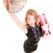 Woman holds christmas gift box and polish money. Holidays. — Foto de Stock   #52845499