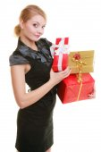 Holidays love happiness concept - girl with gift boxes — 图库照片