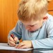 Boy child with pen writing doing homework. At home. — Stock Photo #53006995